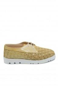 Pantofi dama casual auriu sidefat din piele naturala