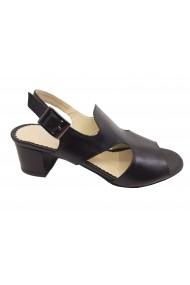 Sandale dama casual negre din piele naturala