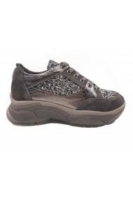 Pantofi sport glitter gri din piele naturala