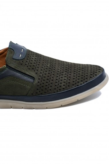 Pantofi casual kaki barbati din piele intoarsa