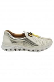 Pantofi sport dama bej cu auriu din piele naturala