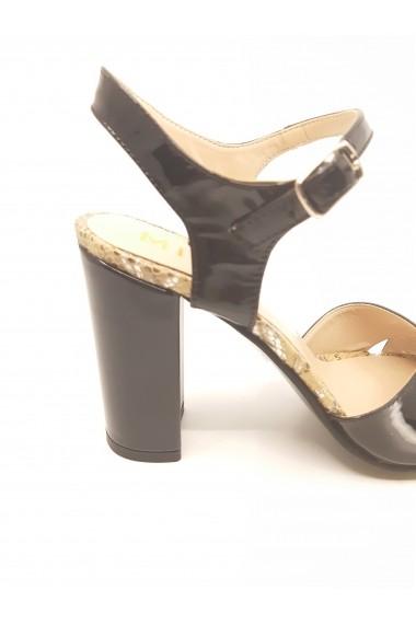 Sandale elegante negre din piele naturala lacuita