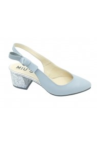 Pantofi dama decupati blue  toc evazat cu model argintiu