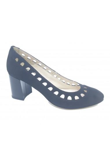 Pantofi cu toc dama negri din piele intoarsa