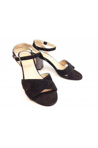 Sandale negre elegante din piele naturala intoarsa