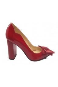 Pantofi dama eleganti din lac rosu cu fundita
