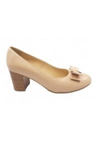 Pantofi cu toc Vera bej cu fundita din piele naturala