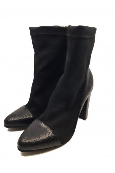 Botine dama elegante stretch negre din piele naturala