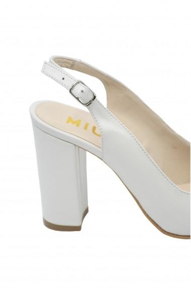 Sandale dama albe decupate din piele naturala