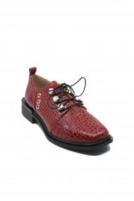 Pantofi dama Karolina rosu crocodil din lac