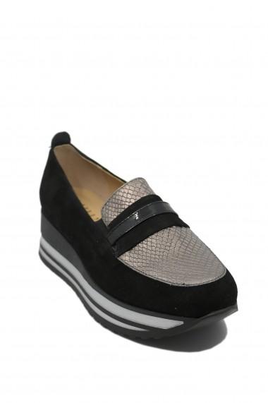 Pantofi dama casual cu platforma negri din piele intoarsa