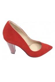 Pantofi eleganti rosu sidefat din piele naturala