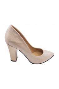 Pantofi eleganti argintiu sidefat din piele naturala
