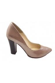 Pantofi eleganti grej sidefat din piele naturala