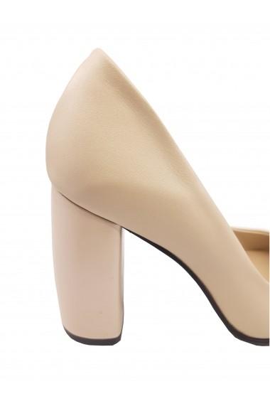 Pantofi eleganti bej sidefat din piele naturala