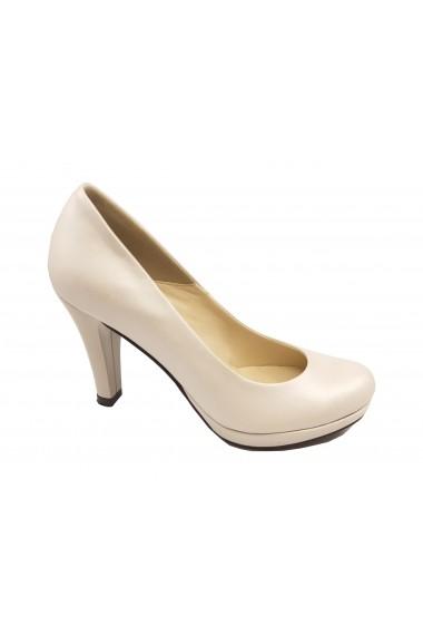 Pantofi eleganti alb sidefat din piele naturala