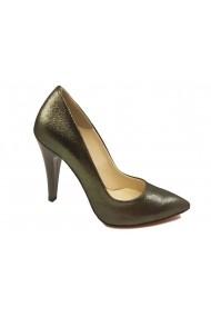 Pantofi stiletto verde sidefat din piele naturala intoarsa