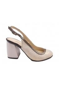 Pantofi decupati auriu si sidef din piele naturala
