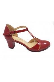 Pantofi decupati eleganti rosii din lac