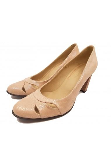 Pantofi cu toc dama office roz pudra din piele naturala