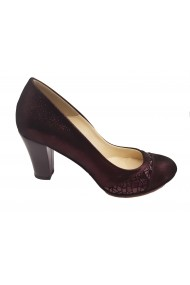 Pantofi dama eleganti bordo sidefat din piele naturala intoarsa