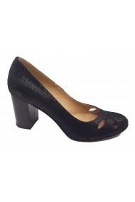 Pantofi cu toc dama office negri din piele naturala intoarsa
