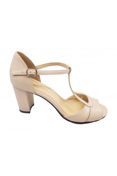Sandale elegante bej din piele naturala