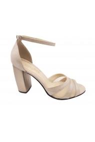 Sandale elegante argintii din piele naturala intoarsa