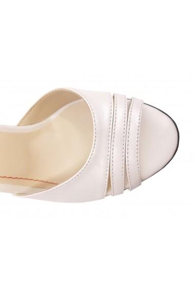 Sandale elegante alb sidefat din piele naturala