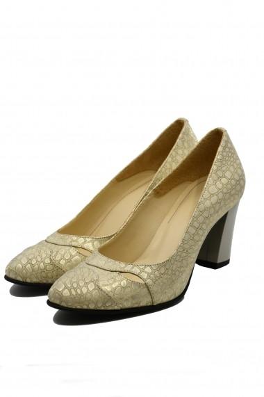 Pantofi cu toc dama aurii din piele intoarsa cu imprimeu sarpe