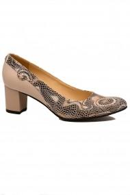 Pantofi dama bej din piele naturala cu imprimeu abstract