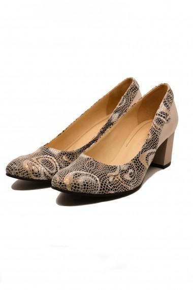 Pantofi cu toc dama bej din piele naturala cu imprimeu abstract