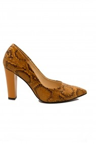 Pantofi dama mustar din piele naturala cu imprimeu sarpe