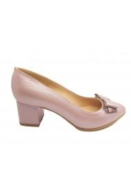 Pantofi dama office din piele naturala mov deschis