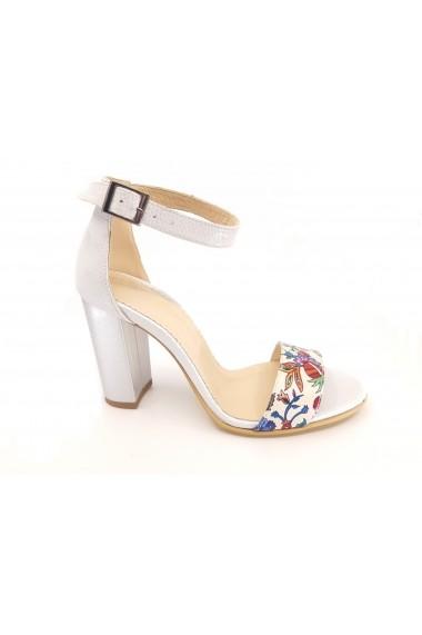 Sandale elegante argintii din piele naturala cu imprimeu flori