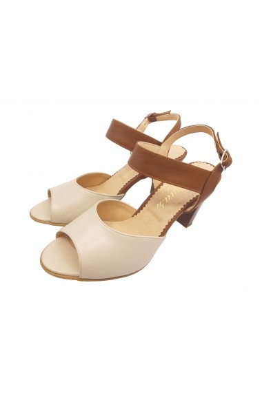 Sandale din piele naturala  culoare bej cu maro