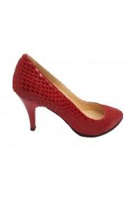 Pantofi stiletto rosii din piele intoarsa