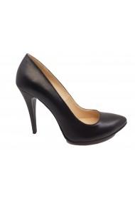 Pantofi stiletto negri din piele naturala