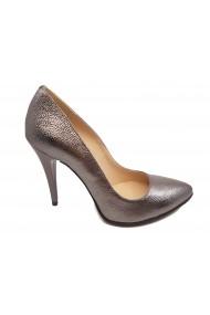 Pantofi stiletto argintii din piele naturala