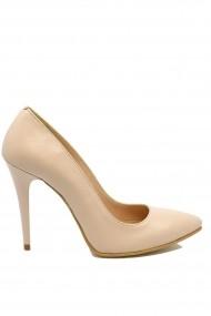 Pantofi stiletto nude din piele naturala