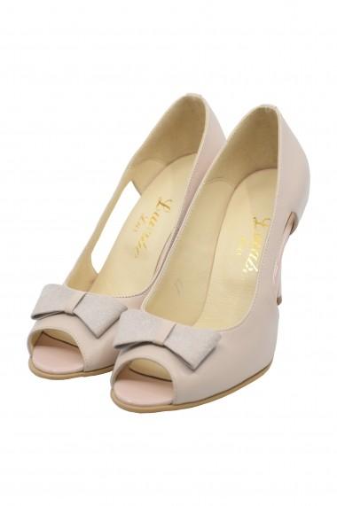 Pantofi dama decupati nude  din piele naturala