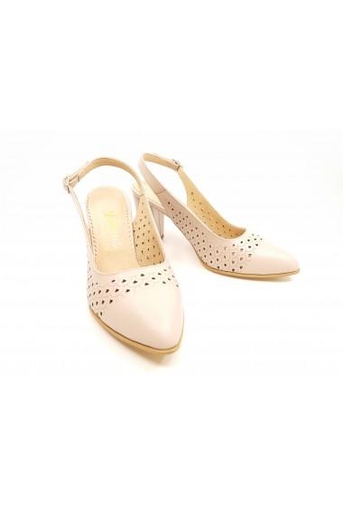 Pantofi cu toc dama nude din piele naturala decupati la spate