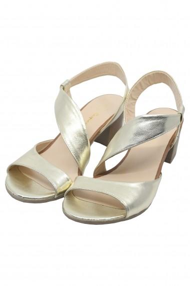 Sandale Vera aurii din piele naturala