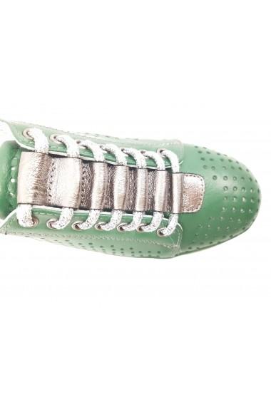 Pantofi dama casual perforati verzi din piele naturala