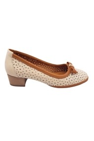 Pantofi cu toc perforati crem cu maro dama
