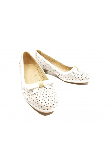 Pantofi cu toc perforati argintii cu alb din piele naturala