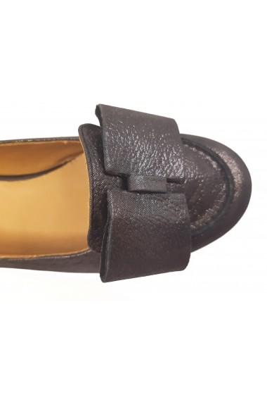 Pantofi Nadia negru sidefat cu fundita din piele naturala