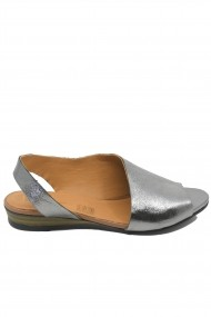 Sandale dama decupate argintii din piele naturala
