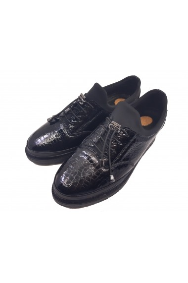 Pantofi dama stretch negri din lac cu siret
