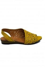 Sandale dama decupate galbene din piele naturala